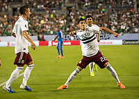 CHARLOTTE, NC - JUNE 23: Uriel Antuna #22 celebrates his goal during a game between Mexico and Martinique at Bank of America Stadium on June 23, 2019 in Charlotte, North Carolina.