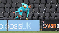 Brentford goalkeeper, Ellery Balcombe leaps over the advertising boards after retrieving the ball during Bromley vs Brentford B, Friendly Match Football at Hayes Lane on 3rd October 2020