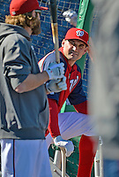 11 October 2012: Washington Nationals third baseman Ryan Zimmerman awaits his turn in the batting cage prior to Postseason Playoff Game 4 of the National League Divisional Series against the St. Louis Cardinals at Nationals Park in Washington, DC. The Nationals defeated the Cardinals 2-1 on a 9th inning, walk-off solo home run by Jayson Werth, tying the Series at 2 games apiece. Mandatory Credit: Ed Wolfstein Photo