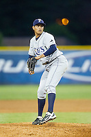 Princeton Rays relief pitcher Yonny Chirinos (32) in action against the Burlington Royals at Burlington Athletic Park on July 11, 2014 in Burlington, North Carolina.  The Rays defeated the Royals 5-3.  (Brian Westerholt/Four Seam Images)