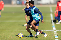 BRADENTON, FL - JANUARY 19: Chris Mueller, Kyle Duncan battle for a ball during a training session at IMG Academy on January 19, 2021 in Bradenton, Florida.