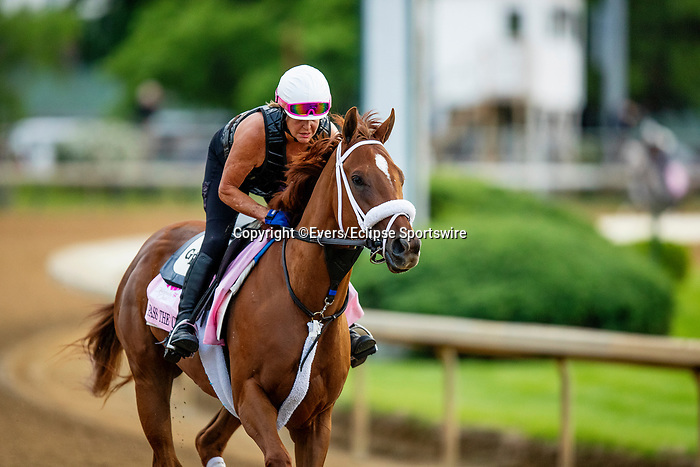 April 28, 2021: Pass the Champagne gallops in preparation for the Kentucky Oaks at Churchill Downs in Louisville, Kentucky on April 28, 2021. EversEclipse Sportswire/CSM