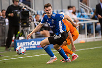 SAN JOSE, CA - JULY 24: Tanner Beason #15 of the San Jose Earthquakes dribbles the ball during a game between San Jose Earthquakes and Houston Dynamo at PayPal Park on July 24, 2021 in San Jose, California.