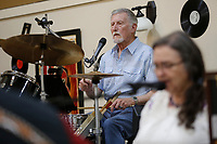 Gary Loesch plays the drums Wednesday, June 10, 2021, as he plays with the Southern Gentlemen band inside the Springdale Senior Activity and Wellness Center. The center has resumed full activities and services. Check out nwaonline.com/210611Daily/ and nwadg.com/photos for a photo gallery.<br /> (NWA Democrat-Gazette/David Gottschalk)
