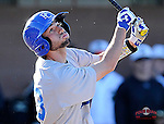 Shortstop Jay Lizanich (23) of the Presbyterian College Blue Hose in a game against the University of South Carolina Upstate Spartans on Friday, February, 21, 2014, at Cleveland S. Harley Park in Spartanburg, South Carolina. Presbyterian won, 5-1. (Tom Priddy/Four Seam Images)