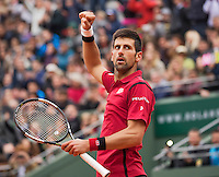 Paris, France, 03 June, 2016, Tennis, Roland Garros, Semifinal men , Novak Djokovic (SRB) celebates his win over Dominic Thiem (AUT)<br /> Photo: Henk Koster/tennisimages.cominic