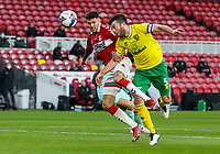 Middlesbrough's Marvin Johnson vies for possession with Norwich City's Grant Hanley<br /> <br /> Photographer Alex Dodd/CameraSport<br /> <br /> The EFL Sky Bet Championship - Middlesbrough v Norwich City - Saturday 21st November 2020 - Riverside Stadium - Middlesbrough<br /> <br /> World Copyright © 2020 CameraSport. All rights reserved. 43 Linden Ave. Countesthorpe. Leicester. England. LE8 5PG - Tel: +44 (0) 116 277 4147 - admin@camerasport.com - www.camerasport.com