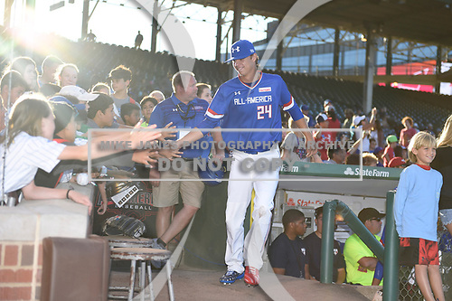 Connor Scott (24) of Plant High School in Tampa, Florida during the Under Armour All-American Game presented by Baseball Factory on July 29, 2017 at Wrigley Field in Chicago, Illinois.  (Mike Janes/Four Seam Images)