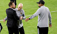 LOS ANGELES, CA - SEPTEMBER 23: Head coaches Bob Bradley of LAFC and Marc Dos Santos of the Vancouver Whitecaps during a game between Vancouver Whitecaps and Los Angeles FC at Banc of California Stadium on September 23, 2020 in Los Angeles, California.