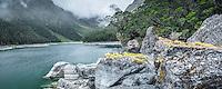 Moody scene at Lake Mackenzie on Routeburn Track with native forest, Fiordland National Park, Southland, UNESCO World Heritage Area, New Zealand, NZ