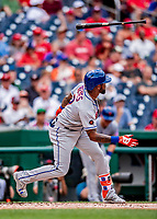 1 August 2018: New York Mets infielder Jose Reyes loses his grip on the bat as he strikes out in the 3rd inning against the Washington Nationals at Nationals Park in Washington, DC. The Nationals defeated the Mets 5-3 to sweep the 2-game weekday series. Mandatory Credit: Ed Wolfstein Photo *** RAW (NEF) Image File Available ***