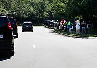 United States President Donald J. Trump's motorcade passes by protestors outside the Trump National Golf Club Washington DC in Sterling, Virginia on June 21, 2020. <br /> Credit: Yuri Gripas / Pool via CNP/AdMedia