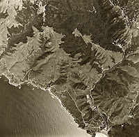 historical aerial photograph Muir Beach, Muir Woods, western Marin county, California, 1968