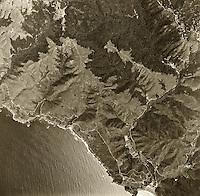 historical aerial photograph Muir Beach, Muir Woods, western Marin county, California, 1968