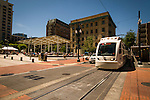 Trimet's MAX passing Director's Park in Portland, OR.