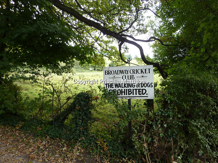 Cotswolds, England - September 18, 2009:  A sign prohibiting dog walking stands at the wooded edge of a field.