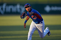 AZL Cubs 2 shortstop Luis Verdugo (17) catches a line drive during an Arizona League game against the AZL Dbacks on June 25, 2019 at Sloan Park in Mesa, Arizona. AZL Cubs 2 defeated the AZL Dbacks 4-0. (Zachary Lucy/Four Seam Images)