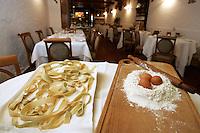 Pappardelle, farina e uova nel ristorante La Greppia a Parma.<br /> Pappardelle, flour and eggs in the restaurant La Greppia, in Parma.<br /> UPDATE IMAGES PRESS/Riccardo De Luca