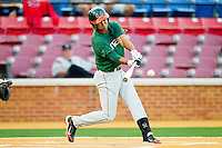 Harold Martinez #9 of the Miami Hurricanes makes contact with the baseball against the Wake Forest Demon Deacons at Gene Hooks Field on March 18, 2011 in Winston-Salem, North Carolina.  Photo by Brian Westerholt / Four Seam Images