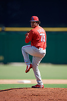 Philadelphia Phillies pitcher Victor Santos (75) delivers a pitch during a Florida Instructional League game against the New York Yankees on October 12, 2018 at Spectrum Field in Clearwater, Florida.  (Mike Janes/Four Seam Images)