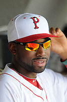 Pawtucket Red Sox outfielder Jackie Bradley Jr. prior to a game versus the Indianapolis Indians at McCoy Stadium in Pawtucket, Rhode Island on May 19, 2013.  (Ken Babbitt/Four Seam Images)