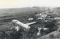 1978<br />  FILE PHOTO - ARCHIVES -<br /> <br /> Fire trucks; ambulances; police cars and other emergency vehicles litter the Etobicoke Creek valley where the stricken plane came to rest. Cause of the crash has not been determined; an Air Canada official said.<br /> <br /> Bezant, Graham<br /> Picture, 1978, <br /> <br /> 1978<br /> <br /> PHOTO : Graham Bezant - Toronto Star Archives - AQP