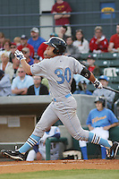 Eric Hosmer #30 of the Wilmington Blue Rocks hitting against the Myrtle Beach Pelicans on April 10, 2010  in Myrtle Beach, SC.