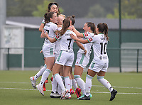 OH Leuven celebrates after scoring a goal pictured during a female soccer game between Oud Heverlee Leuven and Eendracht Aalst on the second matchday of the 2021 - 2022 season of Belgian Womens Super League , sunday 29 nd of August 2021  in Heverlee , Belgium . PHOTO SPORTPIX.BE   JILL DELSAUX