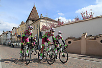 Tour of the Alps UCI Cycling Race. Bressanone, Italy on April 19, 2021. On the way to Brennero at the Brenner Pass Bardiani CSF Faizane riders