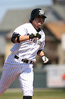 2007:  Jeff Larish of the Erie Seawolves rounds third base on a home run vs. the Bowie Baysox in Eastern League baseball action.  Photo by Mike Janes/Four Seam Images