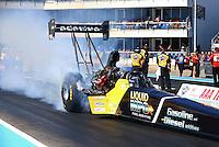 Sept. 22, 2013; Ennis, TX, USA: NHRA top fuel dragster driver Larry Dixon during the Fall Nationals at the Texas Motorplex. Mandatory Credit: Mark J. Rebilas-