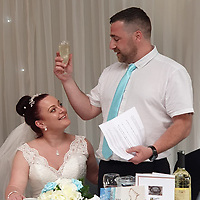 "Pictured: David Taylor and wife Stacey at their wedding.<br /> Re: A chef and a nursing assistant from Llanharry are marking their first year wedding anniversary in style after a life-changing £1M UK Millionaire Maker win from the EuroMillions draw on Friday, 24 January 2020.<br /> David Taylor (40), who is a chef, and his wife Stacey (37) have returned to the venue where they were married – Manor Parc Hotel in Thornhill, Cardiff – for a doubly special celebration. <br /> The pair still can't quite believe their luck since becoming Wales's newest National Lottery millionaires. David described the moment when he found out the life-changing news, <br /> ""I've always been a night owl and even after a late shift I sometimes sit into the early hours drinking coffee."