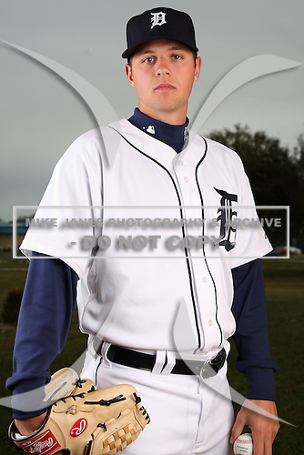 February 27, 2010:  Pitcher Andy Oliver (68) of the Detroit Tigers poses for a photo during media day at Joker Marchant Stadium in Lakeland, FL.  Photo By Mike Janes/Four Seam Images