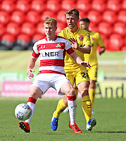 Fleetwood Town's Jack Sowerby chases down Doncaster Rovers' Brad Halliday<br /> <br /> Photographer David Shipman/CameraSport<br /> <br /> The EFL Sky Bet League One - Doncaster Rovers v Fleetwood Town - Saturday 17th August 2019  - Keepmoat Stadium - Doncaster<br /> <br /> World Copyright © 2019 CameraSport. All rights reserved. 43 Linden Ave. Countesthorpe. Leicester. England. LE8 5PG - Tel: +44 (0) 116 277 4147 - admin@camerasport.com - www.camerasport.com