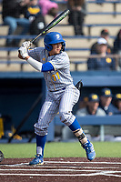San Jose State Spartans shortstop Aaron Pleschner (11) at bat against the Michigan Wolverines on March 27, 2019 in Game 1 of the NCAA baseball doubleheader at Ray Fisher Stadium in Ann Arbor, Michigan. Michigan defeated San Jose State 1-0. (Andrew Woolley/Four Seam Images)