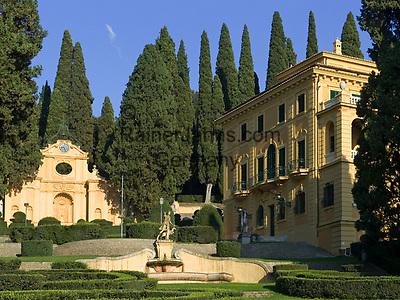 Italien, Umbrien, bei Spello: Villa Fidelia mit Park - Besichtigung moeglich (Eintritt) | Italy, Umbria, near Spello: Villa Fidelia with Park - open to public (entrance fee)
