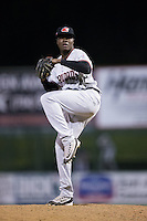 Hickory Crawdads relief pitcher Johan Juan (36) in action against the Kannapolis Intimidators at Kannapolis Intimidators Stadium on April 8, 2016 in Kannapolis, North Carolina.  The Crawdads defeated the Intimidators 8-2.  (Brian Westerholt/Four Seam Images)