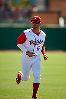 Stockton Ports outfielder Luis Barrera (15) before a California League game against the Rancho Cucamonga Quakes at Banner Island Ballpark on May 17, 2018 in Stockton, California. Stockton defeated Rancho Cucamonga 2-1. (Zachary Lucy/Four Seam Images)
