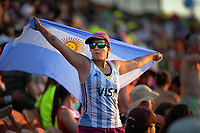 An Argentina fan on day two of the 2020 HSBC World Sevens Series Hamilton at FMG Stadium in Hamilton, New Zealand on Sunday, 26 January 2020. Photo: Dave Lintott / lintottphoto.co.nz