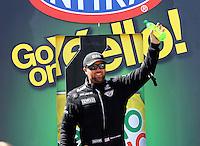 Apr 12, 2015; Las Vegas, NV, USA; NHRA top fuel driver Shawn Langdon during the Summitracing.com Nationals at The Strip at Las Vegas Motor Speedway. Mandatory Credit: Mark J. Rebilas-