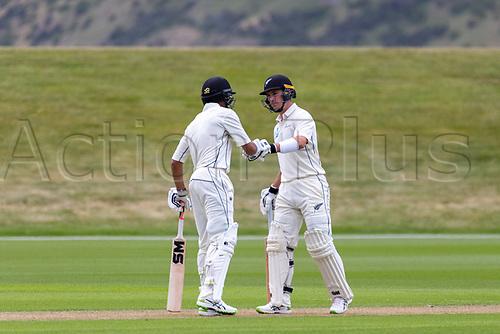 20th November 2020; John Davies Oval, Queenstown, Otago, South Island of New Zealand. New Zealand A versus  West Indies.  NZ A's Rachin Ravindra pumps fists as New Zealand A bat