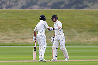 20th November 2020; John Davies Oval, Queenstown, Otago, South Island of New Zealand. New Zealand A versus  West Indies.  NZ A's Rachin Ravindra pumps fists as New Zealand A bat
