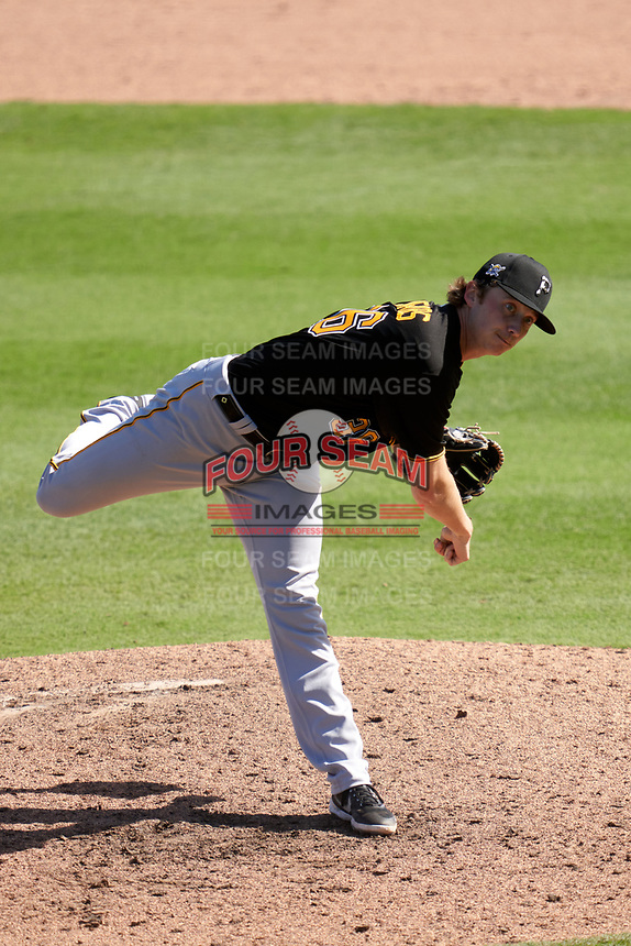 Pittsburgh Pirates pitcher Nick Mears (36) during a Major League Spring Training game against the Baltimore Orioles on February 28, 2021 at Ed Smith Stadium in Sarasota, Florida.  (Mike Janes/Four Seam Images)