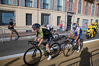 Julian Alaphilippe (FRA/Deceuninck Quick Step), Adam Yates (AUS/Mitchelton-Scott) and Marc Hirschi (SUI/Team Sunweb), going in the final km<br /> <br /> 107th Tour de France 2020 (2.UWT)<br /> (the 'postponed edition' held in september)<br /> Stage 2 from Nice to Nice 186km<br /> ©kramon