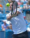 David Goffin (BEL) loses to Novak Djokovic (SRB) 6-4, 2-6, 6-3 at the Western and Southern Open in Mason, OH on August 20, 2015.