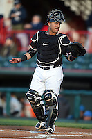 Erie SeaWolves catcher Ramon Cabrera (38) during a game against the Akron RubberDucks on May 17, 2014 at Jerry Uht Park in Erie, Pennsylvania.  Erie defeated Akron 2-1.  (Mike Janes/Four Seam Images)