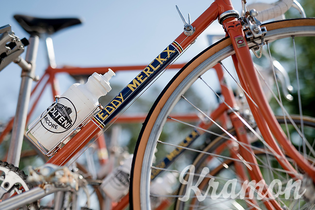 vintage Eddy Merckx bikes mounted atop a Molteni Team Car serve as a backdrop for the 'Monopoly Koers' press conference <br /> <br /> ©kramon