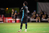 LAKE BUENA VISTA, FL - JULY 14: Pedro Gallese #1 of Orlando City SC waiting for the ball during a game between Orlando City SC and New York City FC at Wide World of Sports on July 14, 2020 in Lake Buena Vista, Florida.