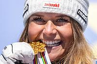 13th February 2021, Cortina, Italy; FIS World Championship Womens Downhill Skiing;   Gold medal winner and downhill world champion 2021 Corinne Suter of SwitzerlandSUISSE GBR Cortina
