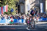 Chloe Dygert (USA) in pursuit of Annemiek van Vleuten who has been ahead solo for most of the race<br /> <br /> Elite Women Road Race from Bradford to Harrogate (149km)<br /> 2019 Road World Championships Yorkshire (GBR)<br /> <br /> ©kramon